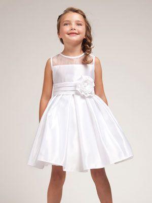 7eb677728b8 White Silk Satin Gather Skirt Flower Girl Dress