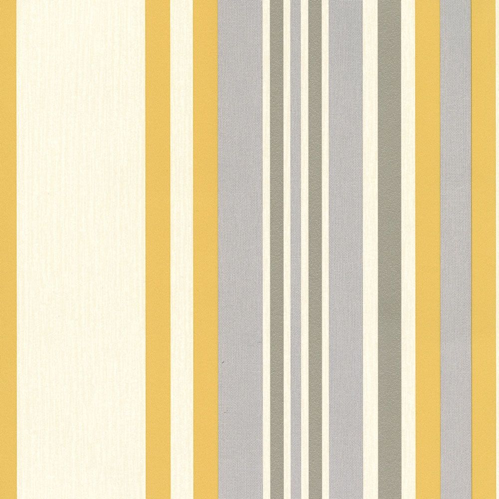 Muriva Millie Stripe Wallpaper Yellow - I\'d put this horizontal ...