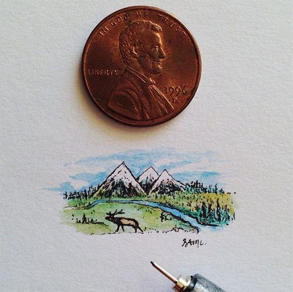 Малюсенькие картины, которые можно закрыть монеткой. Смотрю и изумляюсь!