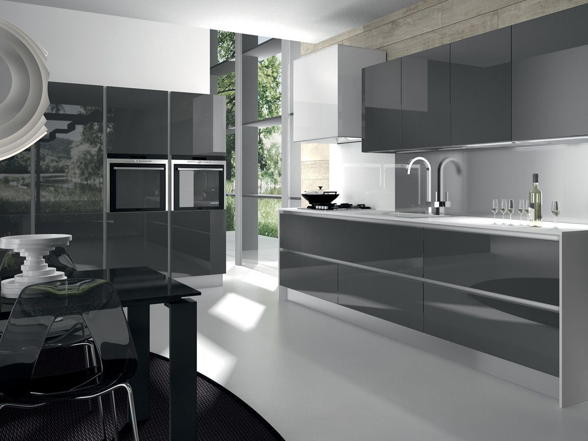 Modern Glossy Grey Kitchen Cabinets And White Countertop