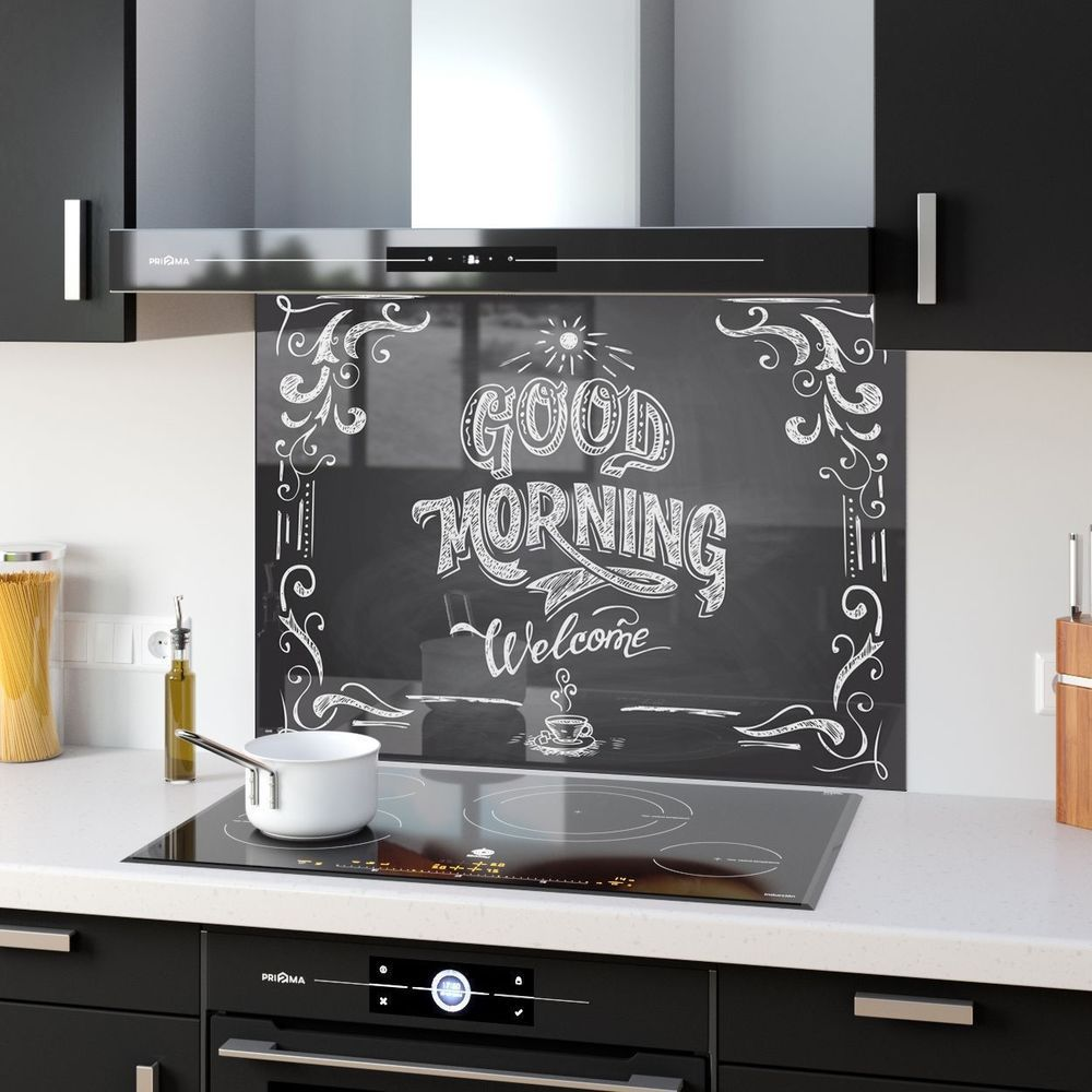 Heart of the Home White 2 Heat Resistant Toughened Printed Glass Splashback