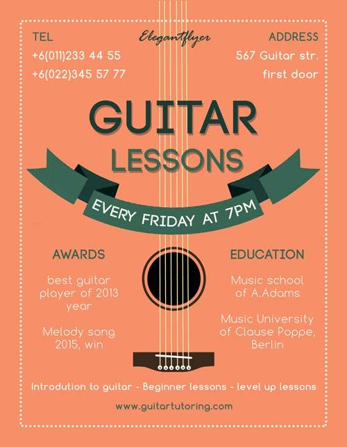 Guitar Lessons Free Flyer Template -    freepsdflyer - invitation flyer template