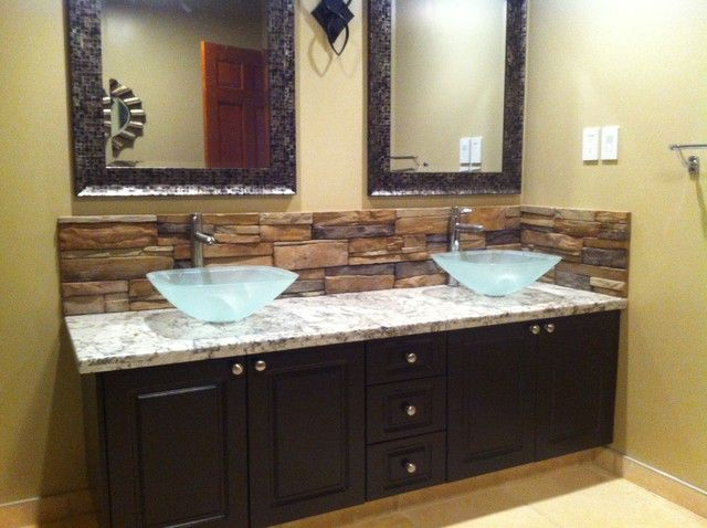 20 EyeCatching Bathroom Backsplash Ideas Vessel sink Bathroom