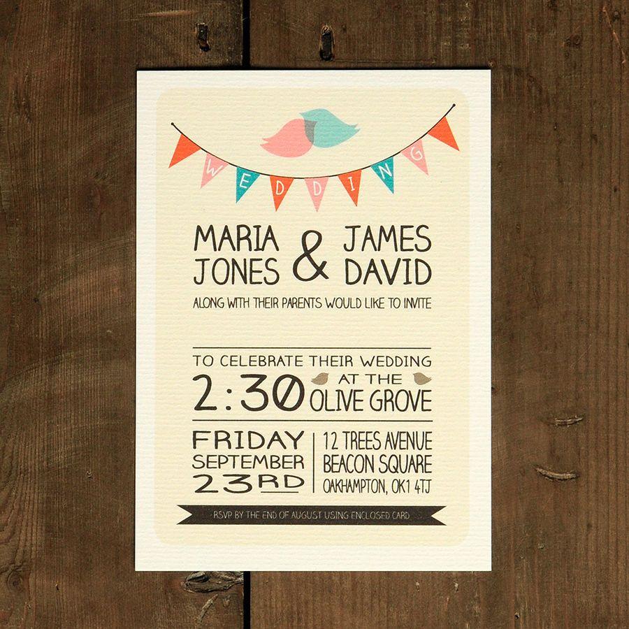 Whimsical Lovebirds Wedding Invitation - Bunting Retro Modern ...