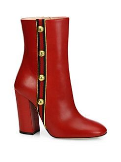 Gucci - Carly Studded Grosgrain & Leather Boots<br>