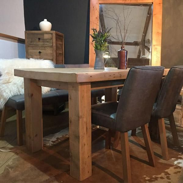 English Beam Reclaimed Wood Dining Table Light Modish Living
