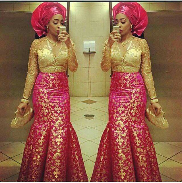 Pink and gold wedding dresses african fashion ankara for Pink and gold wedding dress