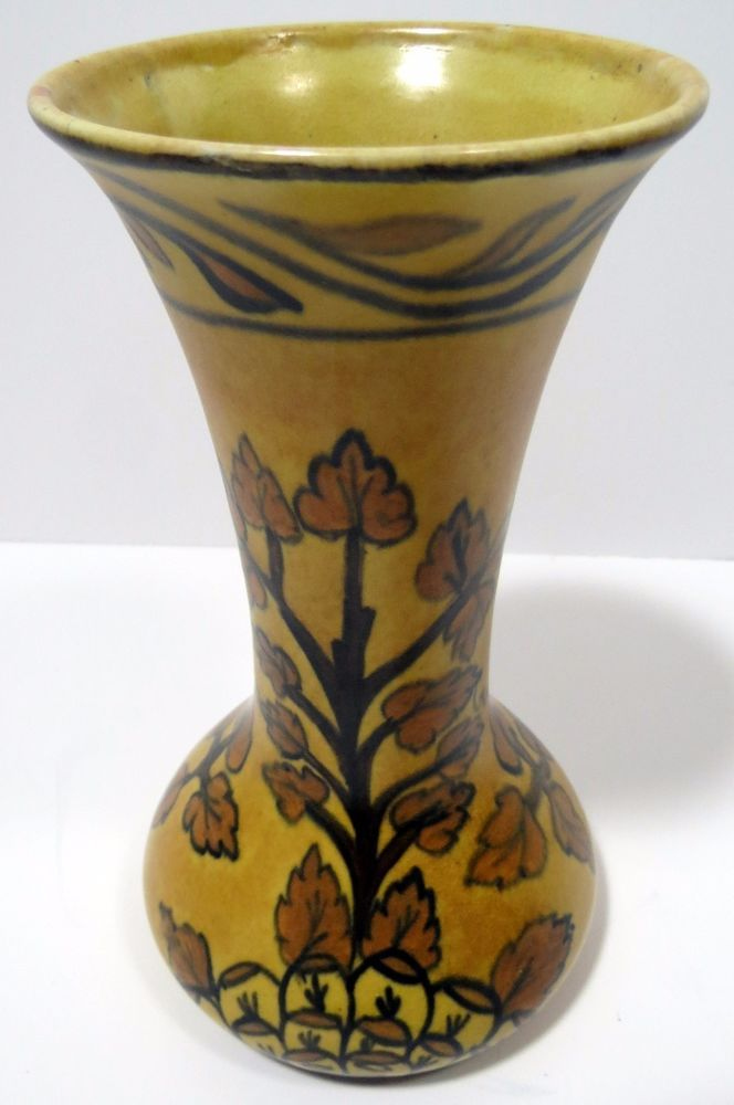 Vintage Chameleon Ware Deco Art Yellow Pottery Vase By Clews
