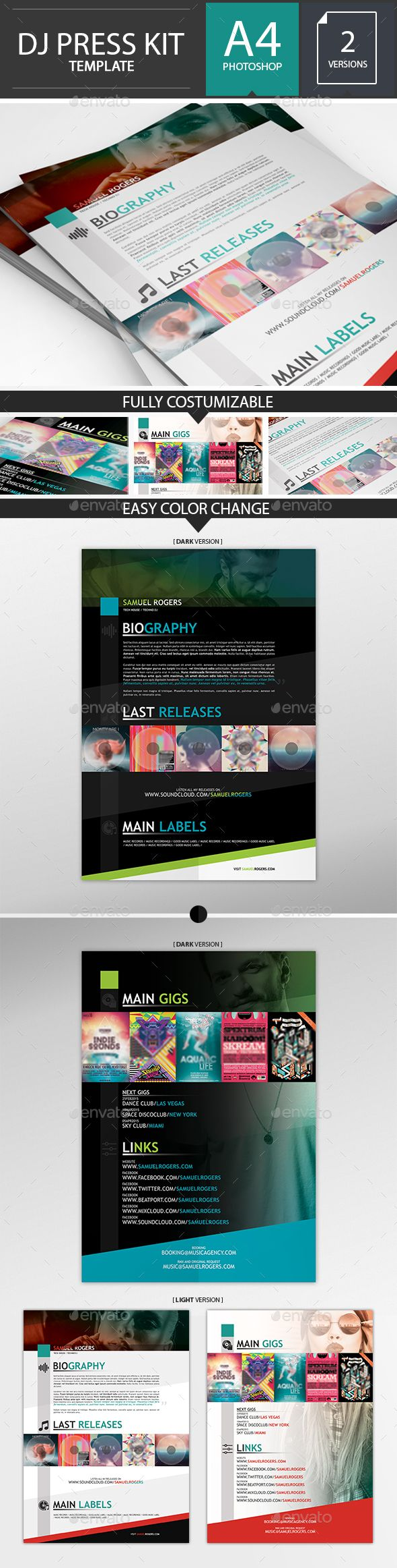 Dj musician press kit resume psd template press kits for Dj press kit template free