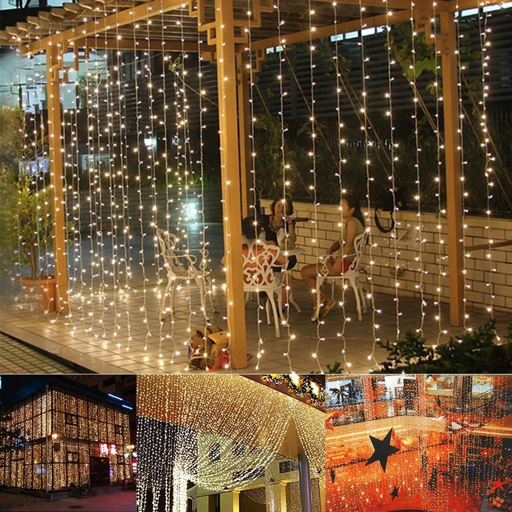 amazoncom ucharge led light curtain icicle lights 300led 98feet 8modes linkable warm white christmas curtain string fairy wedding lights for home