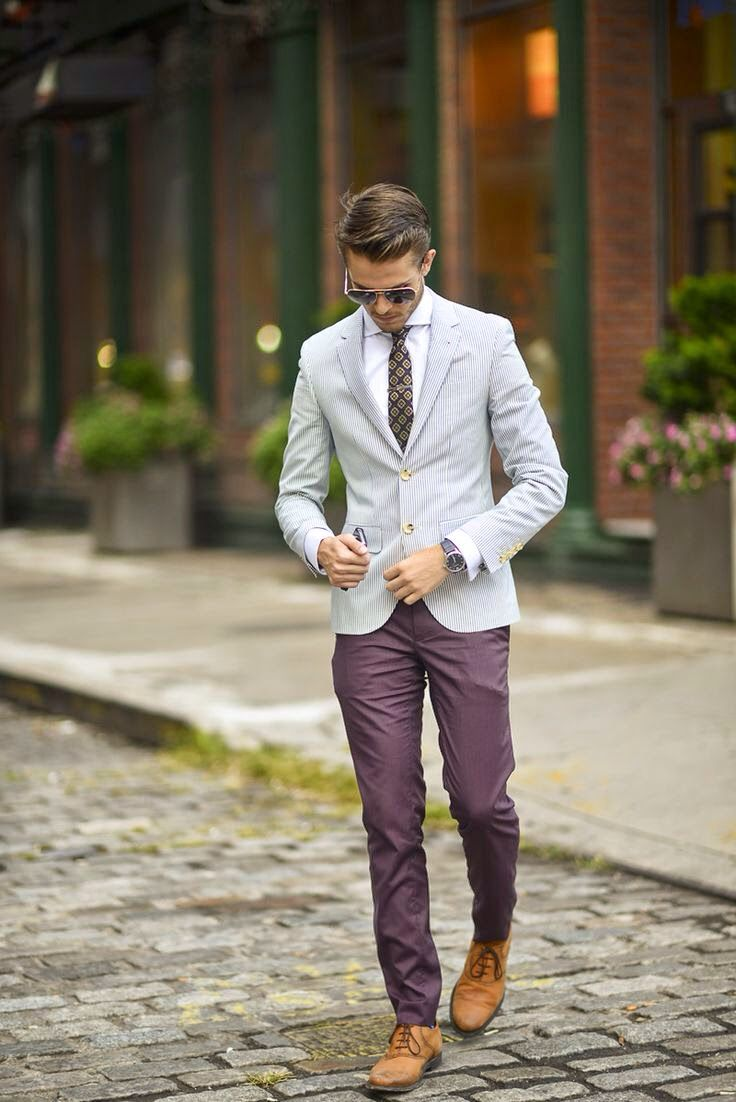 Purple pants can be cool.