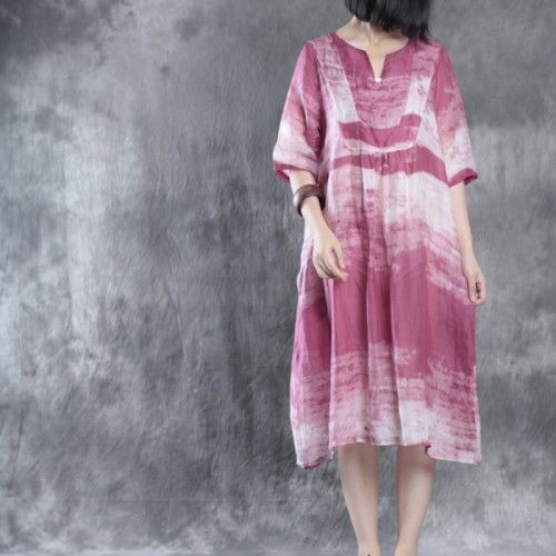 Pink Linen Caftans Plus Size Linen Dresses Long Maxi Dress