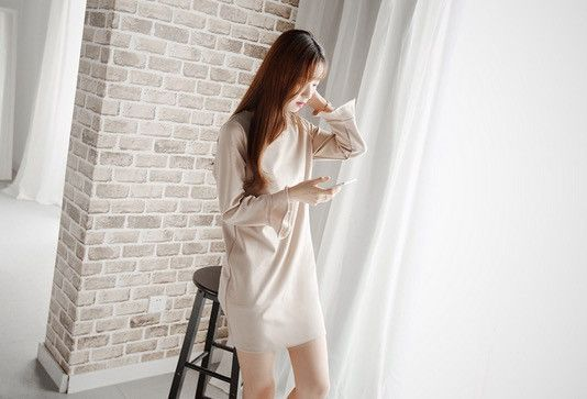 Korean Style - Slim flounced dress