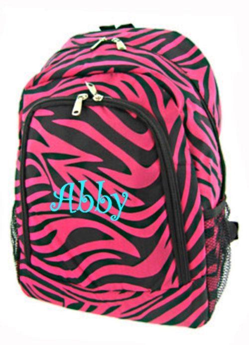 Personalized Zebra Backpack - Girls Canvas Booksack Black & Hot ...