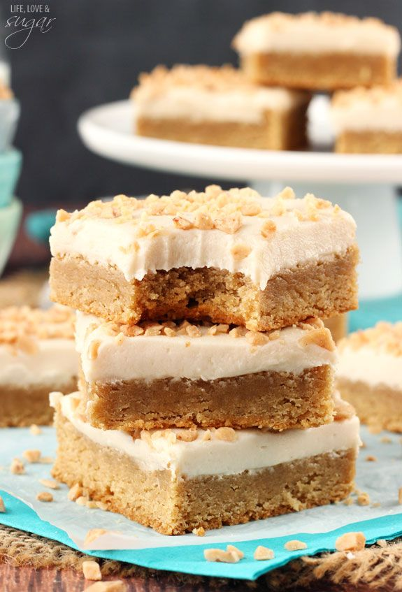 Frosted Maple Cookie Bars These Frosted Maple Cookie Bars with toffee pieces on top are delicious! They're so soft and chewy, they almost melt right in your mouth. All that maple flavor and maple cream cheese icing makes them perfect for fall.