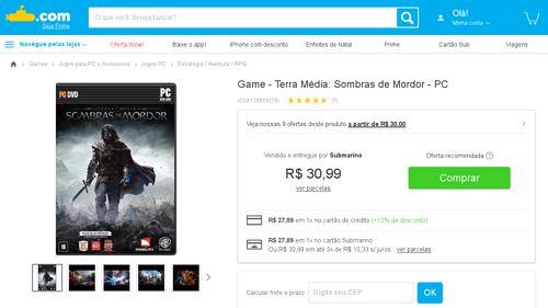 [Submarino] Game - Terra Média: Sombras de Mordor - PC - de R$ 79,00 por R$ 27,89 (53% de desconto)
