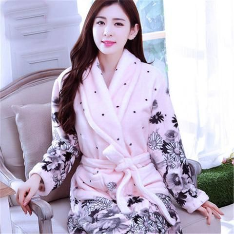 95c15ec1d0c0 Robe sexy The new flannel nightgown bathrobe couple pajamas home service  robes men and women of coral velvet robe bathrobe