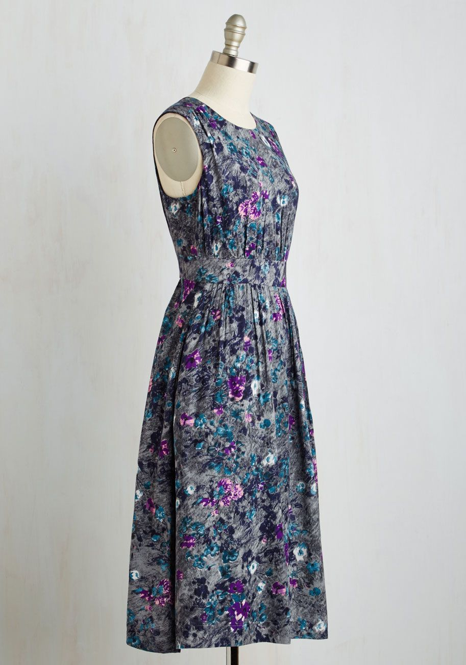Too Much Fun Dress in Petals - Long. Theres no such thing as overloading on fun - but if it were possible, why not go all-out in this A-line dress? $109.99 #multi #modcloth