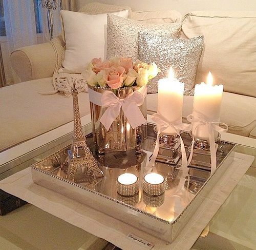 Love. white grey silver sparkle candles roses bows living room white couch