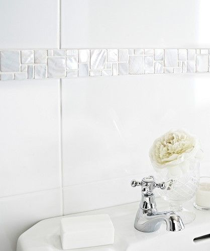 Mother of pearl white modular border tile ba ir m White border tiles bathrooms