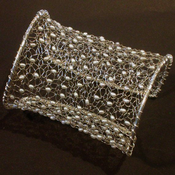 Sterling Silver and Pearl Knitted Cuff by EmedeeSilverJewelry, $215.00