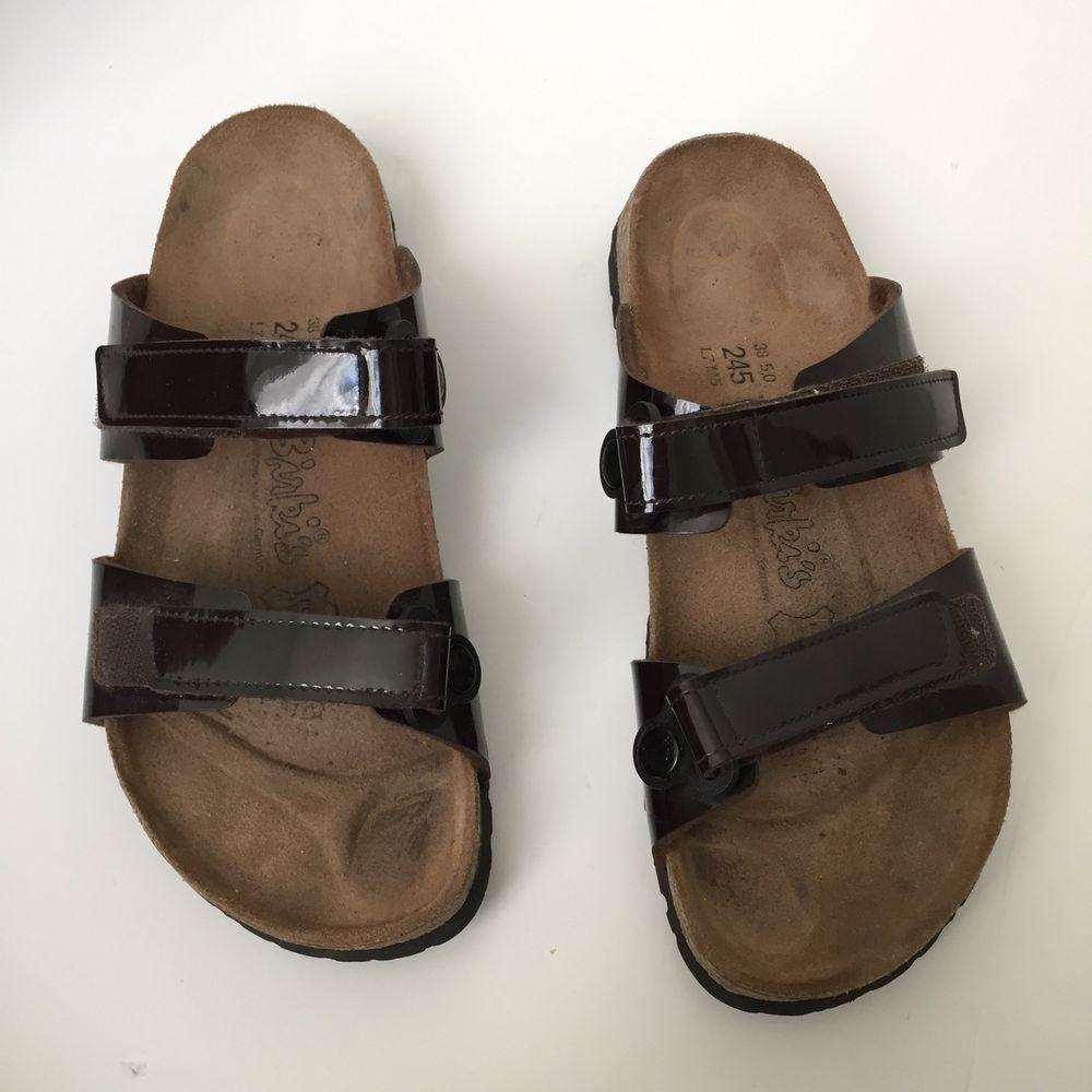 Birki's Birkenstock Brown Leather Strap Velcro Sandal Women's Size 38 5 0 | eBay