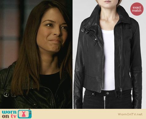 Cat's leather jacket with double buckle collar on Beauty and the Beast. Outfit Details: http://wornontv.net/25807 #BeautyandtheBeast #fashion #BATB