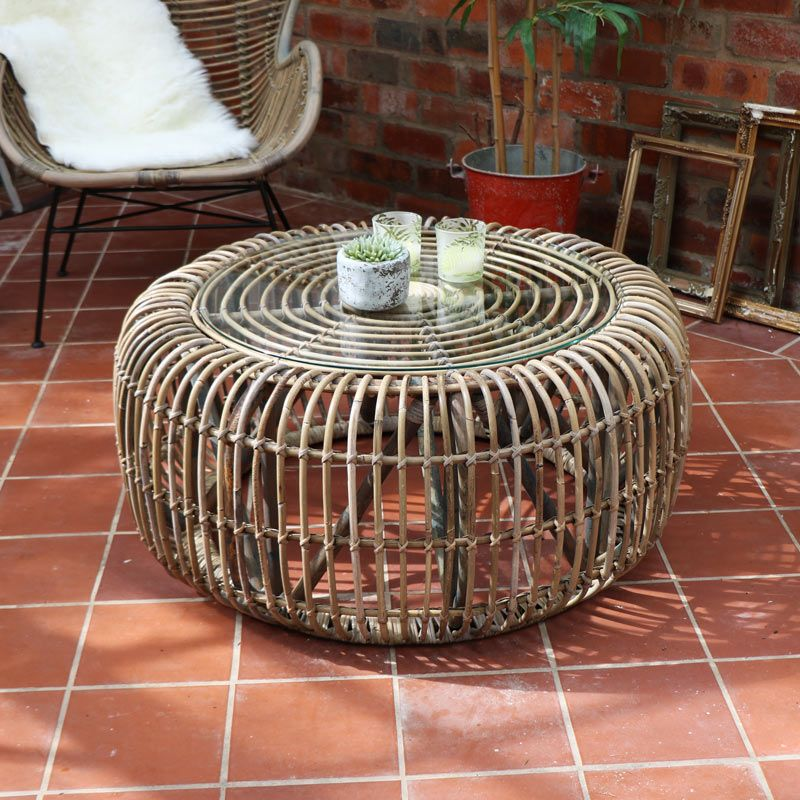 Round Rattan Coffee Table With Gl Top Furniture