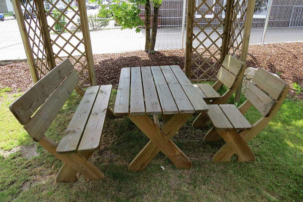 Picknicktisch Toskana Aus Holz Mit Gartenbank Und 2 Stuhlen Gartensitzgruppe Aus Holz 35 Mm Stark Hinterhof Terrassen Designs Terassenentwurf Garten Terrasse