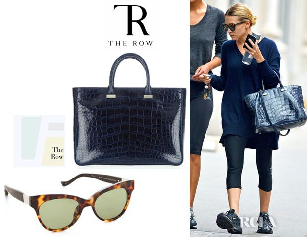 3f3464c9b241 Ashley Olsen s The Row Day Luxe Tote And Linda Farrow for The Row Leather Cat  Eye Sunglasses
