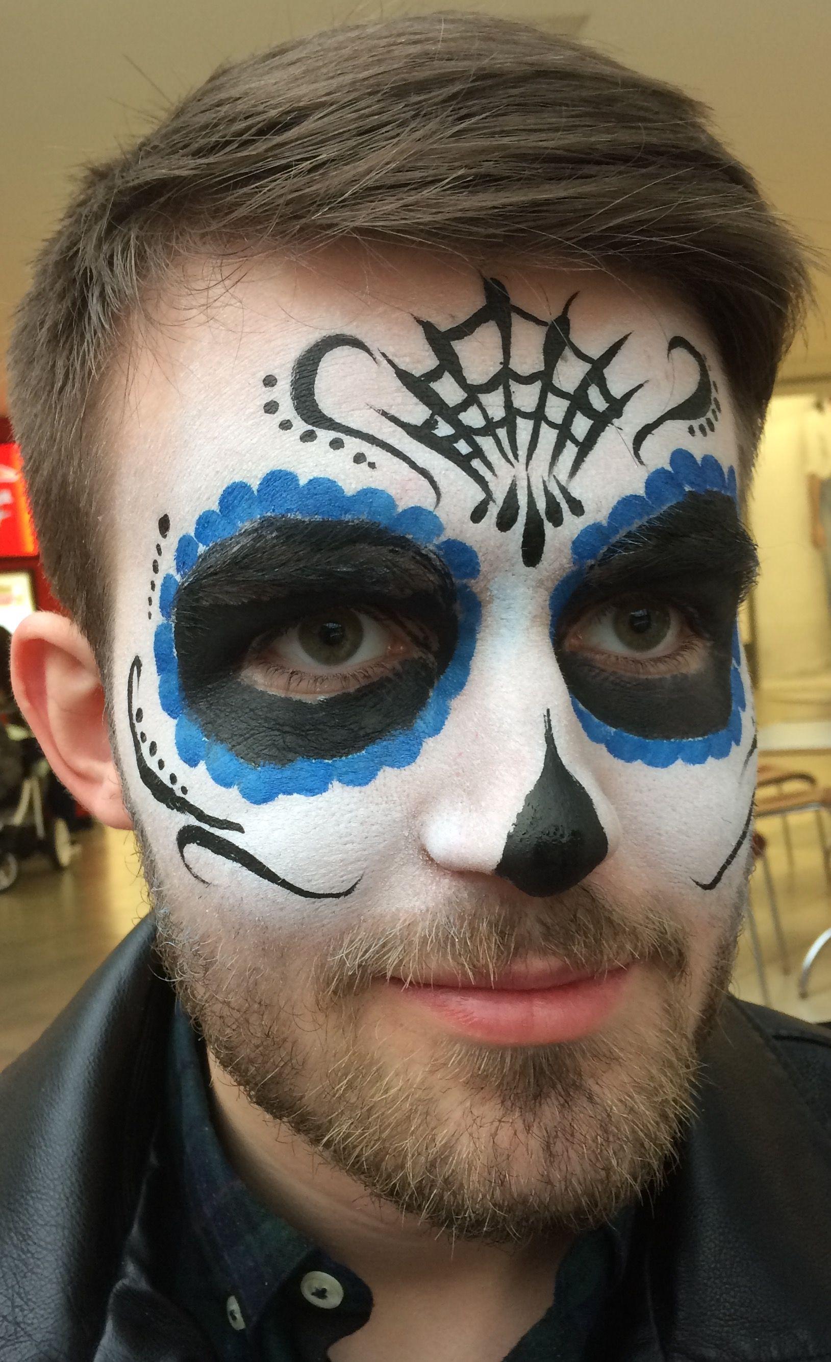 Sugar Skull for man with beard , black, blue , web Dead