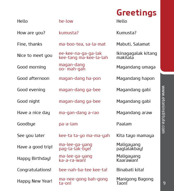 Contact Us Tagalog, Language and Learning