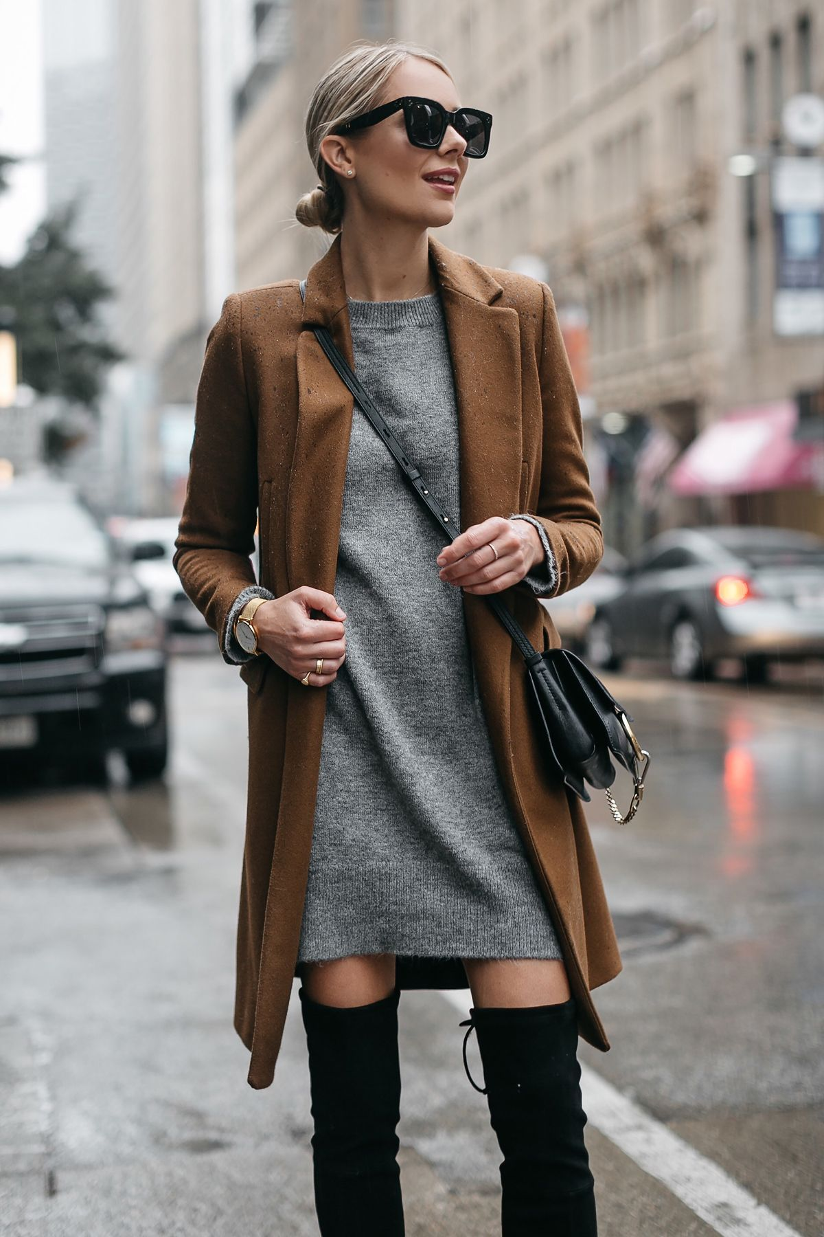 794c0278 Blonde Woman Wearing Zara Camel Wool Coat Topshop Grey Sweater Dress Chloe  Faye Handbag Fashion Jackson Dallas Blogger Fashion Blogger Street Style