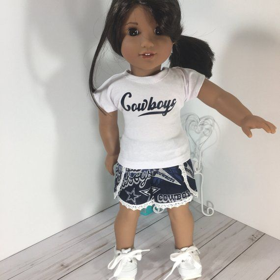 18 inch Doll Clothes - football Printed Cheerleader shorts and tees fits dolls like American Girl, Journey Girl, My Generation #18inchcheerleaderclothes
