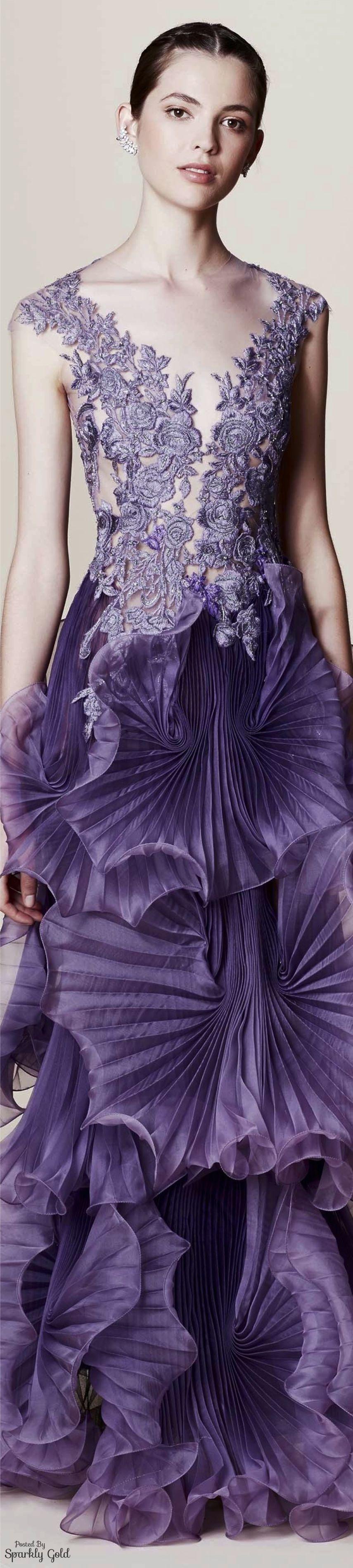 Marchesa Resort 2017 Lavender, purple, lace dress, wedding dresses ...