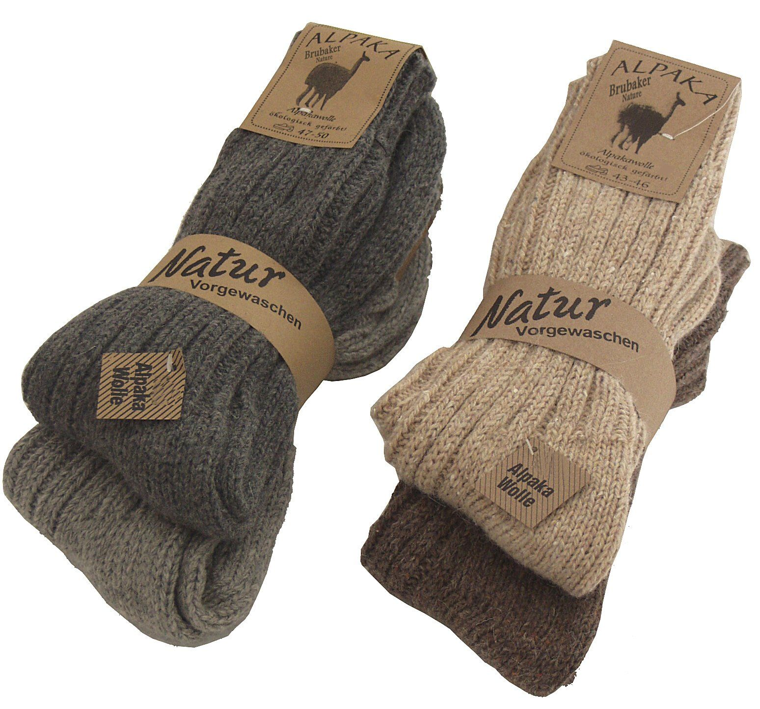 4 Pairs BRUBAKER Thick Alpaca Winter Socks For Men Or Women 100/% Alpaca