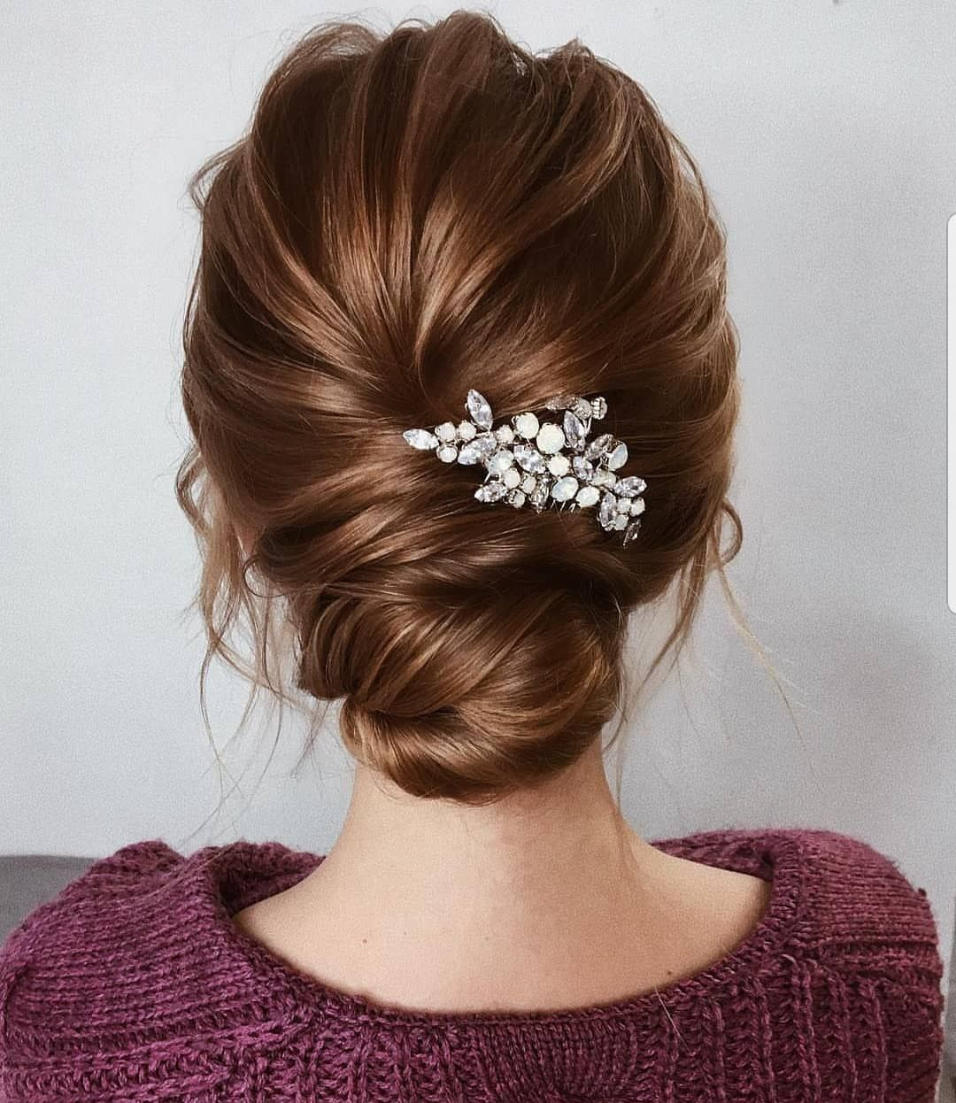 Emilia On Instagram Simplicity At Its Finest Credit Goes To A Russian Professional Lenaboguc Short Updo Wedding Bridal Hair Comb Crystal Wedding Hairstyles
