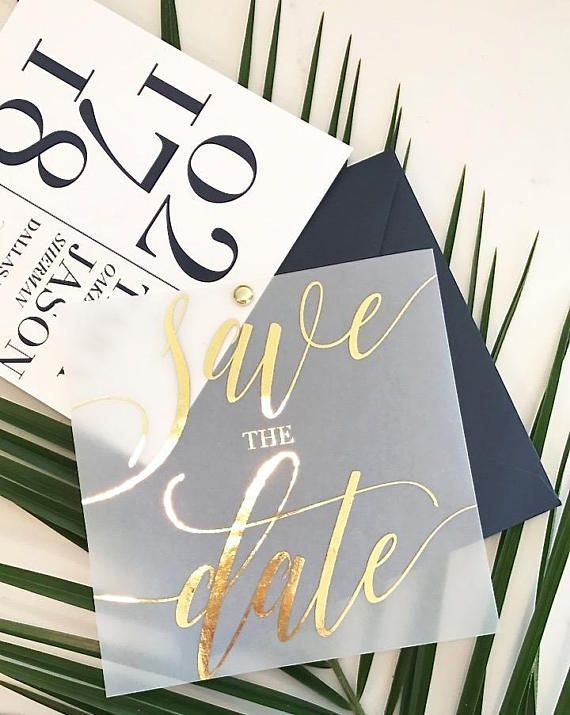 Tara Save the Date with Translucent Vellum Overlay with FOIL