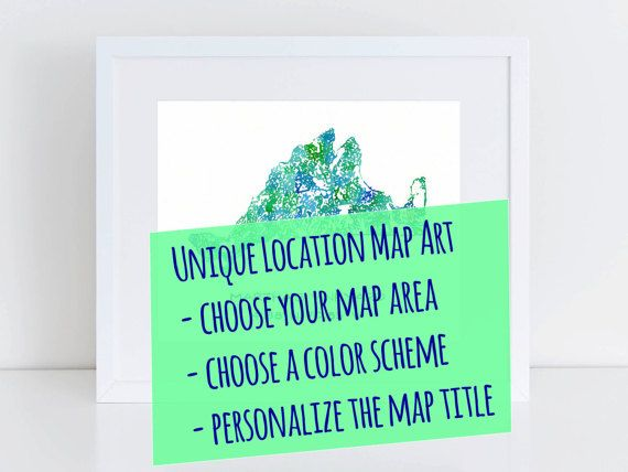 Custom Map Art Personalized Map Painting by BlueJayBay on