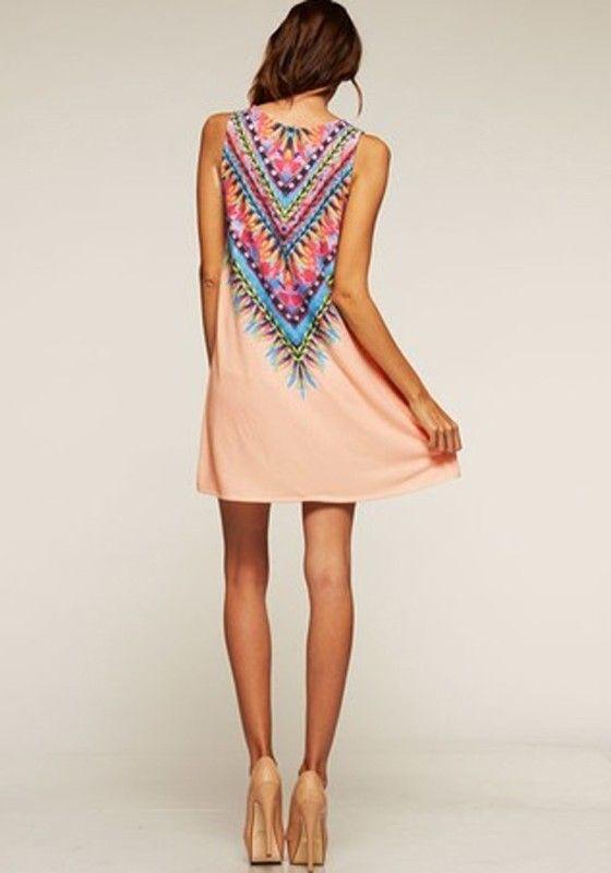 Pink Geometric Print Round Neck Sleeveless Bohemian Chiffon Mini Dress