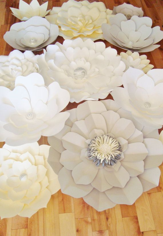 Paper Flower Wall Display – Set of 30 (Ivory, Grey, White)