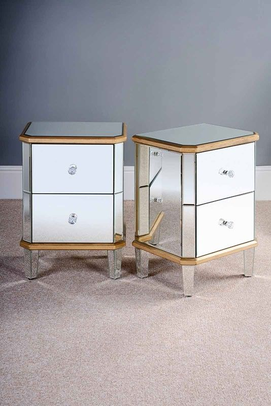 Mirrored Bedside Table With Drawers: Pair Of VERSAILLES Mirrored Bedside Tables With 2 Drawers