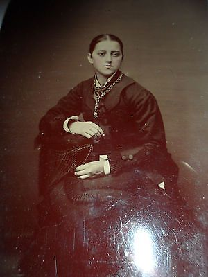 Antique Civil War Era , Vintage Hand Colored Tintype Photo For A Lady