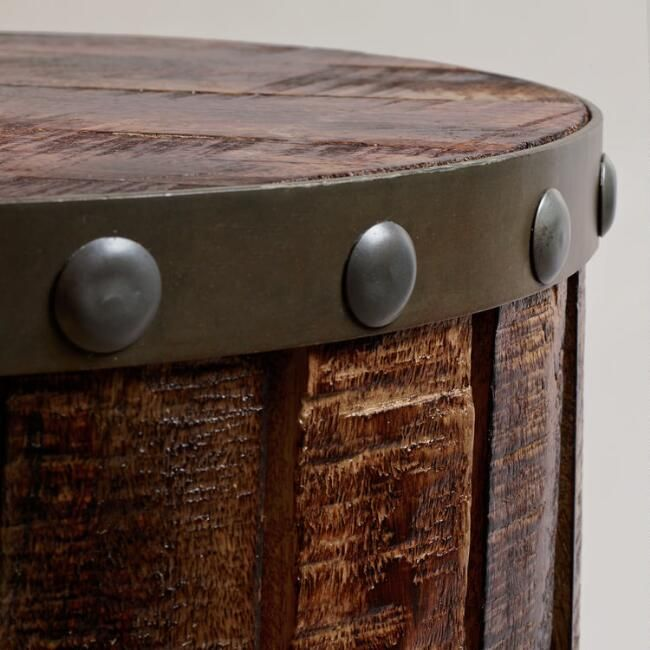Wood Plank Drum Table V3