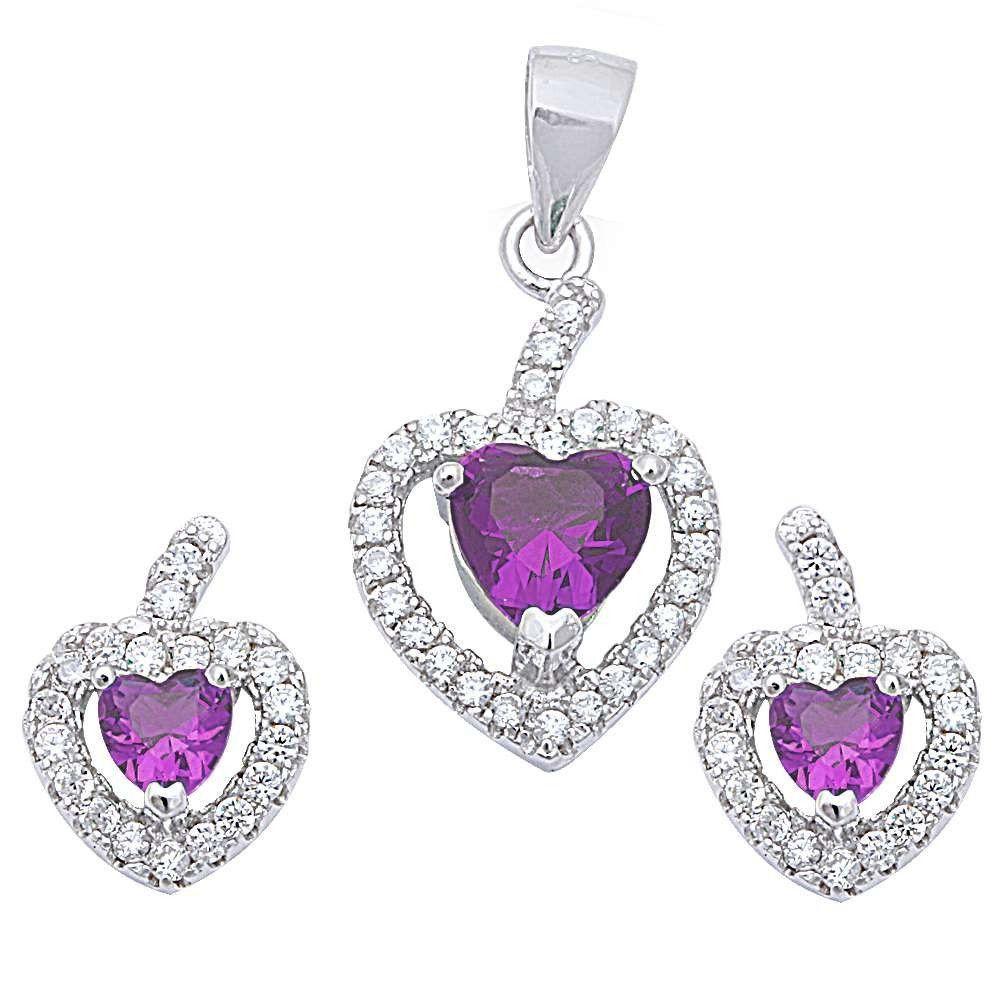 Amethyst u cz heart sterling silver earring u pendant jewelry