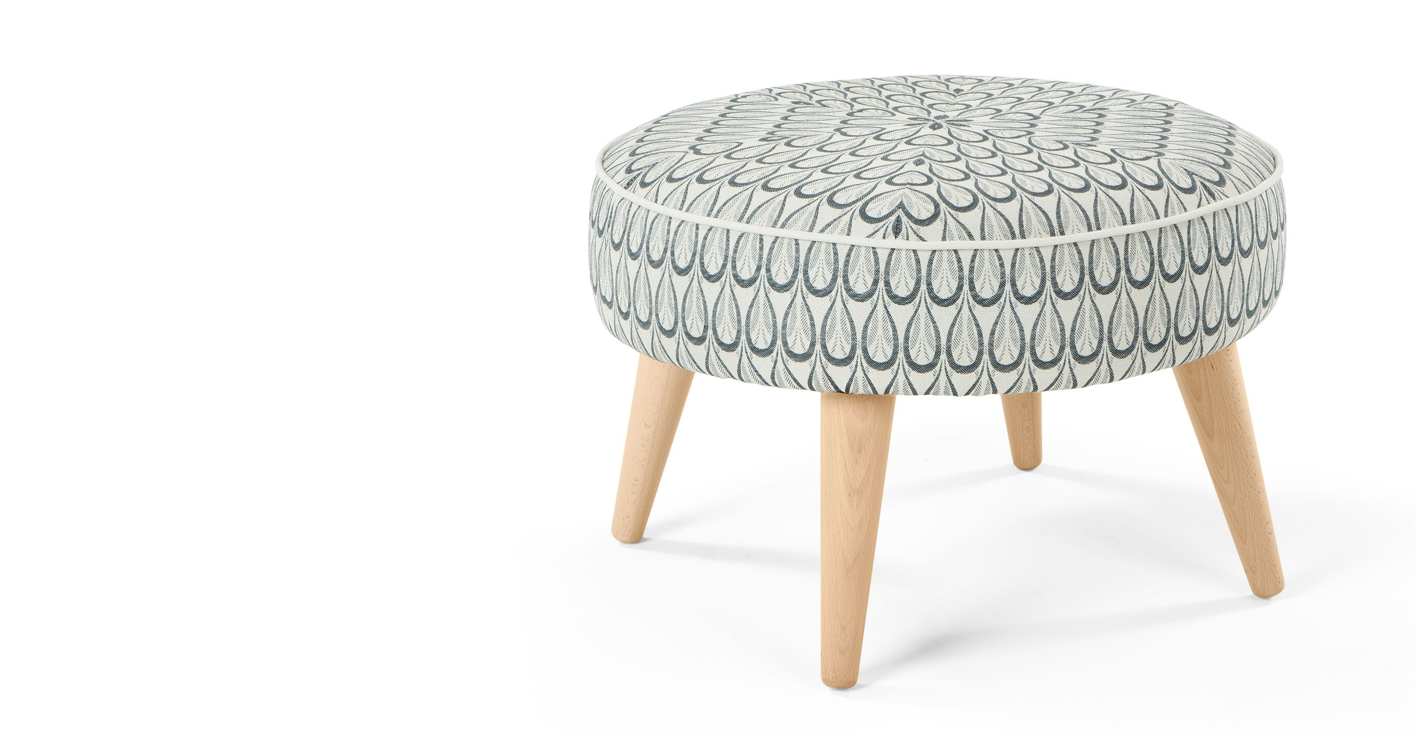 Lulu Footstool In Drop Weave Made Com Grey Footstool Lounge