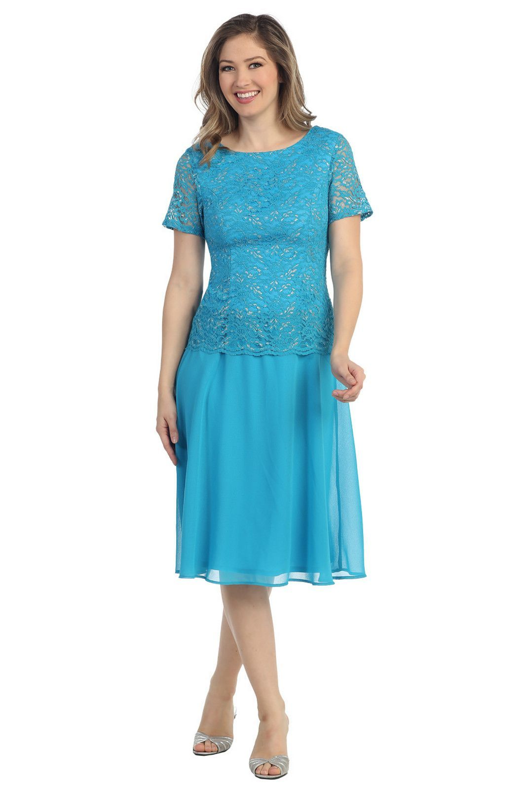 A stunning knee length modest gown perfect dress for the mother of ...