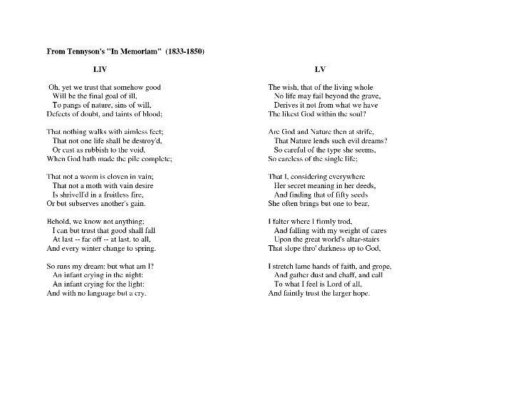 From Tennyson's In Memoriam