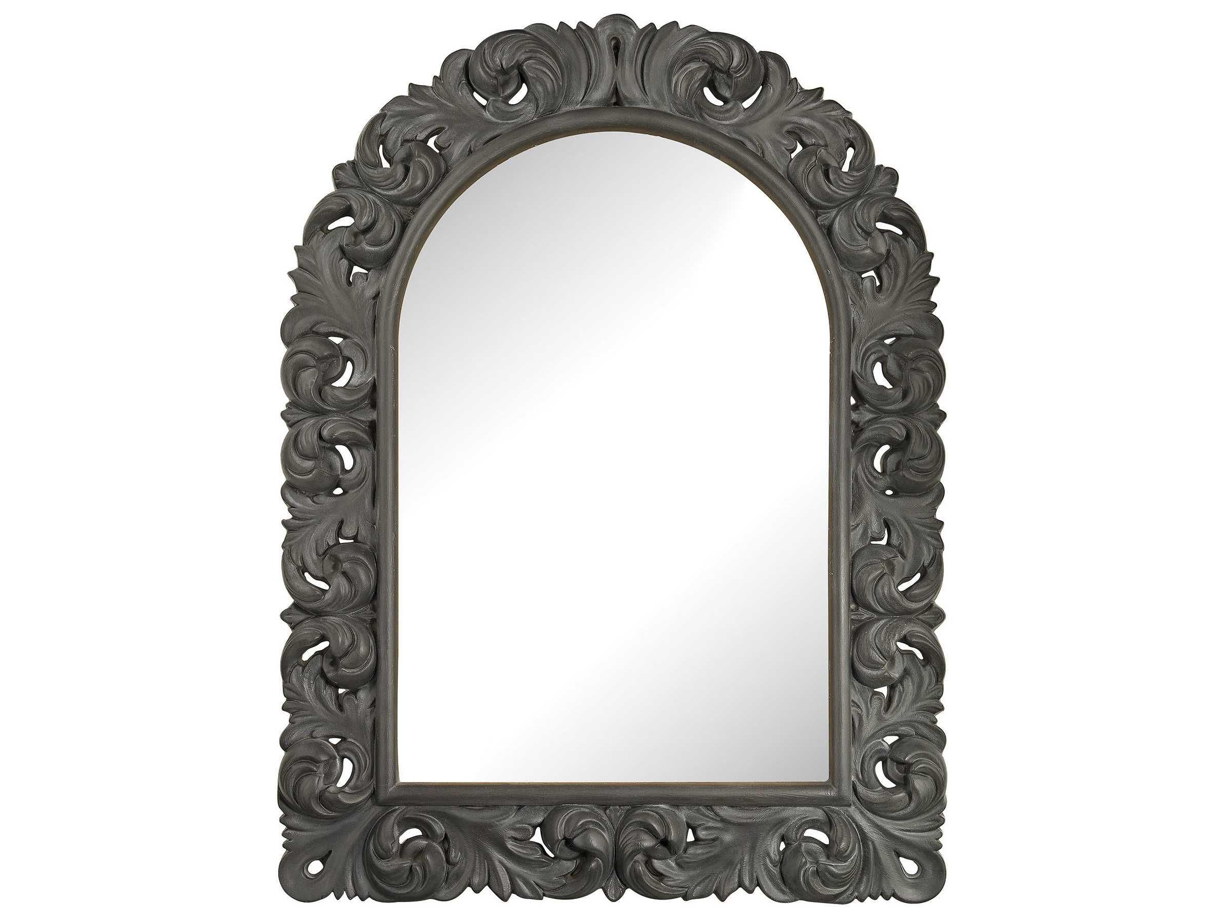 Sterling Arched Scroll Black Ash 35''W x 47''H Wall Mirror