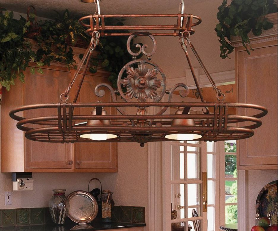 Uncategorized Vintage Kitchen Ideas With Kalco Style Lighted Pot Rack Wooden Hanging
